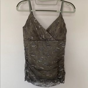 White House Black Market Silver Lace Overlay Top S